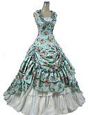 halpa Vanhan maailman asut-Gothic Lolita Viktoriaaninen Naisten Mekot Hameet Asut Cosplay Sininen Kukka Holkki Hihaton Nilkkapituinen