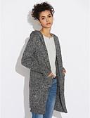 tanie Swetry damskie-Damskie Codzienny Casual Solidne kolory / Geometric Shape Długi rękaw Długie Sweter rozpinany, Kaptur Jesień / Zima Bawełna Ciemnoszary / Jasnoszary Jeden rozmiar