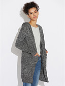 cheap Women's T-shirts-Women's Casual Long Sleeve Cotton Long Cardigan - Solid Colored / Geometric Hooded / Fall / Winter