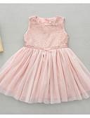 tanie Sukienki dla dziewczynek-Brzdąc Dla dziewczynek Wyjściowe Solidne kolory Bez rękawów Bawełna Sukienka Rumiany róż 110 / Śłodkie