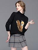 baratos Ternos de Duas Peças Femininos-Mulheres Suéter - Detalhes em Pêlo Tricôt, Estampa Animal Saia Colarinho Chinês