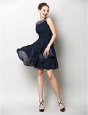 billige Cocktailkjoler-A-linje Båthals Knelang Chiffon Vakker rygg Cocktailfest Kjole med Bølgemønster av TS Couture®