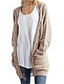 olcso Női pulóverek-Női Hosszú ujj Hosszú Kardigán Egyszínű V-alakú / Ősz / Tél