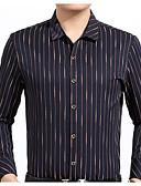 זול חולצות לגברים-פסים צווארון רחב יומי / עבודה חולצה - בגדי ריקוד גברים דפוס
