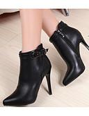 ieftine Bluze & Camisole Femei-Pentru femei Pantofi PU Primăvară / Toamnă Confortabili / Ghete Cizme Toc Stilat Negru / Rosu