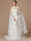 cheap Wedding Veils-Sleeveless Lace / Tulle Wedding / Party / Evening Women's Wrap With Appliques / Buckle / Lace Capes