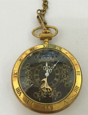 זול שעוני ילדים-לזוג שעוני שלד שעון כיס קווארץ חריתה חלולה שעונים יום יומיים סגסוגת להקה אנלוגי פאר יום יומי גולגולת זהב - זהב