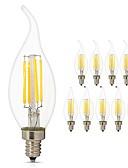 baratos Decorações de Bolo-10pçs 4W 360lm E14 Lâmpadas de Filamento de LED C35L 4 Contas LED COB Lâmpada Edison Decorativa Luz LED Branco Quente Branco Frio 220-240V