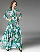 baratos Vestidos de Mulher-Mulheres balanço Vestido Floral Cintura Alta Longo