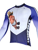 ieftine Ținute De Dans De Copii-ILPALADINO Bărbați Manșon Lung Jerseu Cycling - Alb+Albastru Celest Desene Animate / Animal Bicicletă Jerseu, Uscare rapidă, Rezistent la