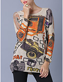 זול טישרט-גיאומטרי - סוודר שרוול ארוך שרוול עטלף ליציאה בגדי ריקוד נשים