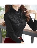 baratos Camisas Femininas-Mulheres Camisa Social Sólido Poliéster Colarinho Chinês