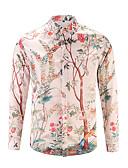 זול חולצות לגברים-סגנון סיני כותנה, חולצה - בגדי ריקוד גברים דפוס / שרוול ארוך
