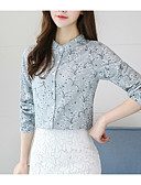 baratos Camisas Femininas-Mulheres Camisa Social - Para Noite Floral