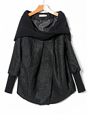 cheap Women's Coats & Trench Coats-Women's Daily Ordinary Fall / Winter Regular Coat, Solid Colored Stand Long Sleeve POLY Black / Gray XXXL / 4XL / XXXXXL