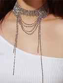 זול שמלות נשים-בגדי ריקוד נשים שכבות שרשראות מחרוזת - יהלום מדומה שכבות מרובות כסף שרשראות עבור Party, מתנה