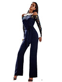 cheap Women's Jumpsuits & Rompers-Women's Off Shoulder Lace Daily Simple Boat Neck Blue White Black Jumpsuit, Solid Colored M L XL Cotton Long Sleeve Spring