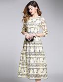 baratos Vestidos Femininos-Mulheres Moda de Rua Evasê Bainha balanço Vestido - Com Transparência, Estampa Colorida Médio