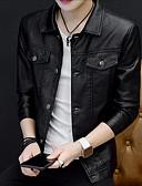 cheap Men's Jackets & Coats-Men's Going out Street chic Fall / Winter Plus Size Regular Leather Jacket, Solid Colored Shirt Collar Long Sleeve PU Green / Black / Red XXL / XXXL / 4XL