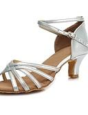 זול סוודרים וקרדיגנים לגברים-נעליים לטיניות דמוי עור עקבים רתן עקב קובני מותאם אישית נעלי ריקוד זהב / כסף