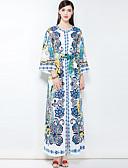abordables Vestidos de Mujer-Mujer Tallas Grandes Boho Corte Ancho Vestido - Básico, Floral Maxi