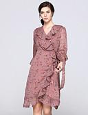 זול שמלות נשים-צווארון V קפלים Ruched דפוס, פרחוני - שמלה גזרת A נדן סווינג בגדי ריקוד נשים