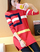 cheap Women's Sweaters-Women's Long Sleeves Long Pullover - Color Block, Print