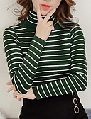 cheap Women's Sweaters-Women's Long Sleeves Pullover - Striped Turtleneck