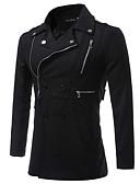 cheap Men's Jackets & Coats-Men's Cotton Trench Coat - Solid Colored Shirt Collar