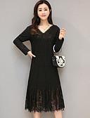 cheap Women's Dresses-Women's Cotton Lace Dress - Solid Colored V Neck