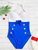 abordables Monos y Rómpers para Mujer-Mujer Vintage Halter Azul Real Aro Slips Una Pieza Bañadores - Bloques Lazo L XL XXL
