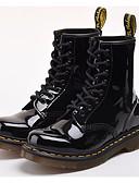 זול שמלות נשים-בגדי ריקוד נשים נעליים עור פטנט סתיו / חורף נוחות / מגפיי קרב מגפיים עקב עבה שחור / אדום