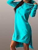 זול שמלות נשים-מעל הברך / א-סימטרי אחיד - שמלה משוחרר כותנה בגדי ריקוד נשים