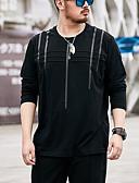 저렴한 남성 셔츠-남성용 솔리드 라운드 넥 티셔츠, 스트리트 쉬크 / 긴 소매