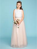 זול הינומות חתונה-שני חלקים עם תכשיטים עד הריצפה תחרה / טול שמלה לשושבינות הצעירות  עם חרוזים / סרט / קפלים על ידי LAN TING BRIDE®