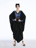 preiswerte Damen Kleider-Mode Jalabiya Kaftan Kleid Abaya Arabisches Kleid Damen Fest / Feiertage Halloween Kostüme Schwarz Geometrisch