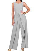 cheap Women's Jumpsuits & Rompers-Women's Split Plus Size Holiday / Weekend Gray Purple Khaki Wide Leg Jumpsuit, Solid Colored Split XL XXL XXXL Cotton Sleeveless Spring Summer