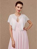 Χαμηλού Κόστους Φορέματα ειδικών περιστάσεων-Αμάνικο Σιφόν Γάμου / Πάρτι / Βράδυ Γυναικείες εσάρμπες Με Πούλιες / Αγκράφα Κοντή Κάπα