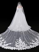 זול הינומות חתונה-שכבה אחת סגנון מודרני סגנון פרח אביזרים אפליקצית קצה תחרה גדול ירח דבש נסיכות ארופאי תחרה חתונה הינומות חתונה צעיפי סומק צעיפי קפלה עם