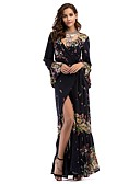 cheap Mother of the Bride Dresses-Women's Boho Flare Sleeve Loose Dress - Floral Black, Split High Waist Asymmetrical Deep V