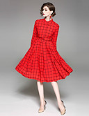 זול שמלות נשים-צווארון חולצה משובץ דמקה - שמלה נדן בגדי ריקוד נשים