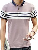 זול טרנינגים וקפוצ'ונים לגברים-אחיד פסים צווארון חולצה סגנון רחוב ספורט כותנה, Polo - בגדי ריקוד גברים