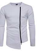 baratos Camisetas & Regatas Masculinas-Homens Básico Calças - Sólido Branco / Decote Redondo / Manga Longa / Inverno
