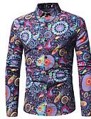 halpa Miesten paidat-Miesten Painettu Paisley-kuvio / Tribaali Vintage / Katutyyli Paita Rubiini / Pitkähihainen