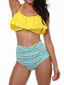 זול 2017ביקיני ובגדי ים-מותן גבוה פירות, קפלים / דפוס - ביקיני Bandeau קולר בגדי ריקוד נשים