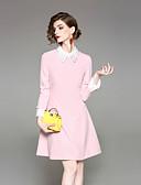 זול שמלות נשים-צווארון חולצה חרוזים, אחיד - שמלה גזרת A נדן בגדי ריקוד נשים
