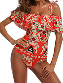 cheap One-piece swimsuits-Women's Sexy Boho Off Shoulder Black Red Tankini Swimwear M L XL Black