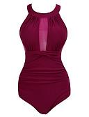 זול חולצות לגברים-צבע אחיד, גב חשוף - חלק אחד (שלם) קולר מידות גדולות בגדי ריקוד נשים