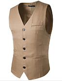 cheap Men's Blazers & Suits-Men's Business Casual Vest-Solid Colored / Long Sleeve