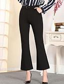 baratos Calças Femininas-Mulheres Tamanhos Grandes Cintura Alta Algodão Bootcut Calças - Sólido